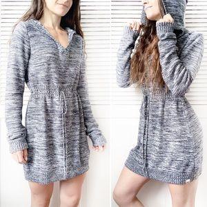 ROXY Knit Hoodie Sweater Dress Marled Grey NWOT